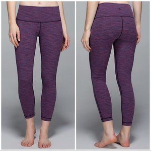 Lululemon Wunder Under Crop II roll down 6 purple